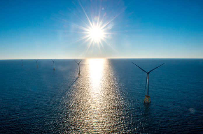 A CLEANER FUTURE: The Block Island Wind Farm is only the first of many offshore wind energy projects, all of which are designed to replace dirtier, fossil-fuel sources of electricity. / COURTESY DEEPWATER WIND