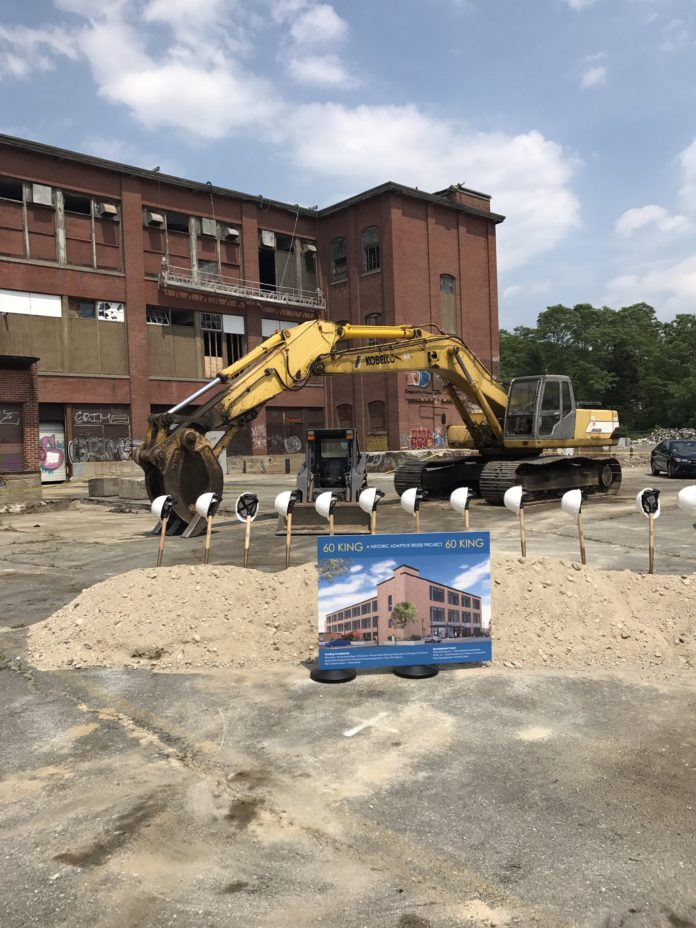THE REDEVELOPMENT OF 60 KING St., The former home of the Imperial Knife Company, broke ground today. / COURTESY TRINITY FINANCIAL LLC