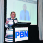 "MARGARET M. ""PEG"" VAN BREE, the 2017 PBN Business Women Awards Career Achievement honoree, addresses the audience at the event upon being recognized. / PBN FILE PHOTO/MIKE SKORSKI"