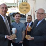 R.I. SBA members celebrate National Doughnut Day with Bolt Coffee owners and SBA loan recipients Bryan Gibb and Todd Mackey./ PHOTO COURTESY SBA
