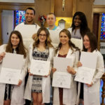 THE SEVEN GRADUATES from Our Lady of Fatima Hospital's School of Medical Technology, from left: (top row) Randy Vinas, Dakota Donth, Abigail Tubman; (bottom row) Alannah Duffy, Elysha Grant, Lauren Hartnett and Megan Tessier. /COURTESY CHARTERCARE HEALTH PARTNERS