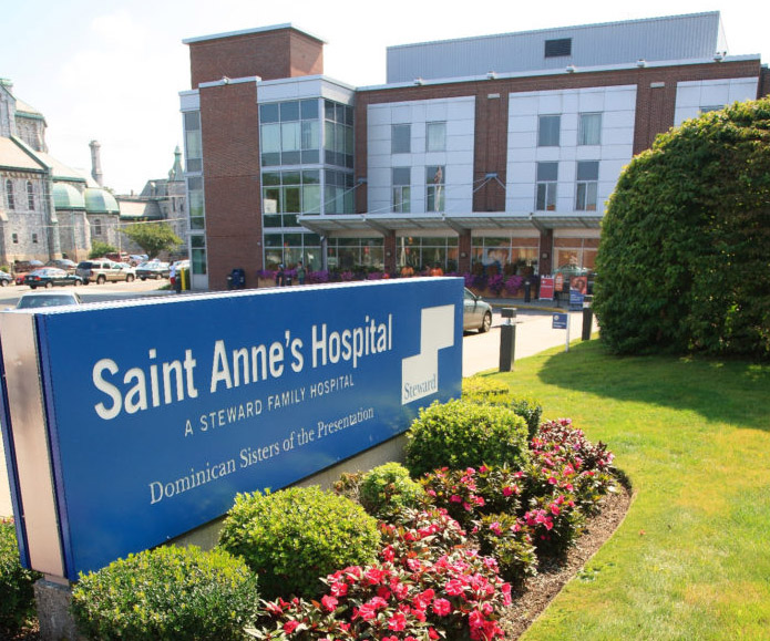 SAINT ANNE'S HOSPITAL in Fall River is one of 10 hospitals in Massachusetts managed by Steward Health Care LLC, which has entered into a definitive agreement to merge operations with IASIS Healthcare. /COURTESY SAINT ANNE'S HOSPITAL