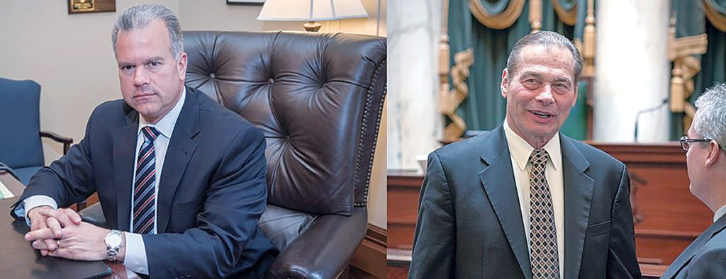 COME ON GUYS: House Speaker Nicholas A. Mattiello, left, and Senate President Dominick J. Ruggerio seem to have made a power struggle between the two General Assembly chambers take precedence over passing the state's fiscal 2018 budget. / PBN FILE PHOTOS/­MICHAEL SALERNO