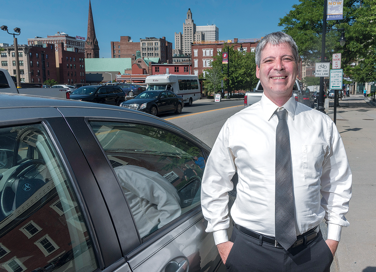 STUCK: Uber and Lyft driver Sean DeLong's professional background in business-operations management doesn't lend itself to highly technical jobs, but his education and experience over-qualify him for most low-wage jobs, which has made it difficult for him to find a job since being laid off in 2015.  / PBN PHOTO/MICHAEL SALERNO
