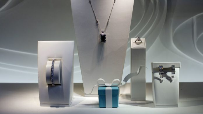 JEWELRY IS DISPLAYED in the window of a Tiffany & Co. store on Fifth Avenue in New York. /BLOOMBERG FILE PHOTO/VICTOR J. BLUE