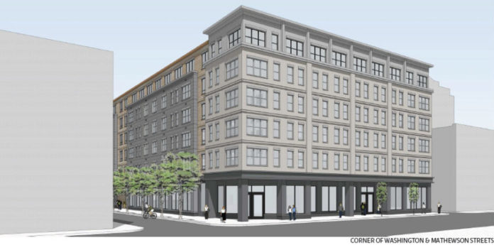 A RENDERING OF a new building planned for downtown Providence, called 78 Fountain, shows the completed building in proportion to its neighbors. A partnership between Providence-based Cornish Associates and Nordblom Development Co., of Burlington, Mass., which is pursuing the project, is seeking a 20-year tax stabilization agreement from the Providence City Council. /COURTESY CUBE3
