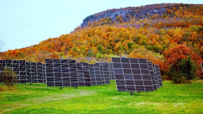 E2SOL LLC, a Providence renewable-energy company, specializes in dual axis solar trackers, shown above. /COURTESY E2SOL LLC