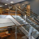 AMONG RECENT RENOVATIONS to the Jewish Alliance of Greater Rhode Island's Dwares Jewish Community Center, is an upper lobby designed to allow visitors to engage with each other. /COURTESY JEWISH ALLIANCE OF GREATER RHODE ISLAND