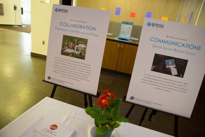 DISPLAY BOARDS FROM the 2016 Best Practices Awards ceremony highlight winning programs from Partnership for Providence Parks and Grow Smart Rhode Island. /COURTESY RHODE ISLAND FOUNDATION