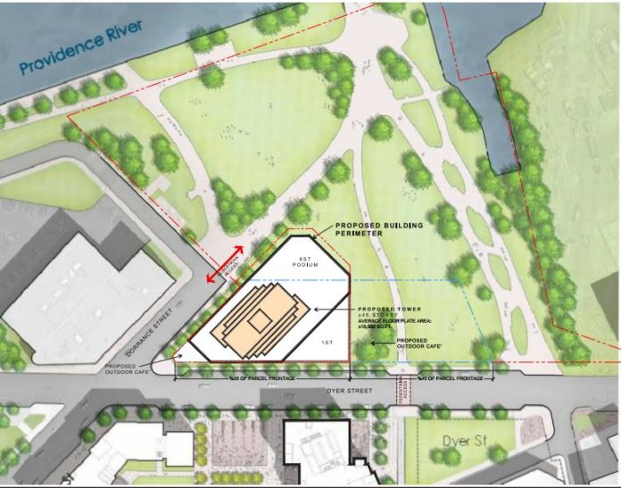 THE PROPOSED SITE plan for Hope Point, which passed a preliminary vote of the Interstate 195 Redevelopment District Commission. Some residents have voiced concern over the project and its effect on downtown Providence. / COURTESY THE FANE ORGANIZATION
