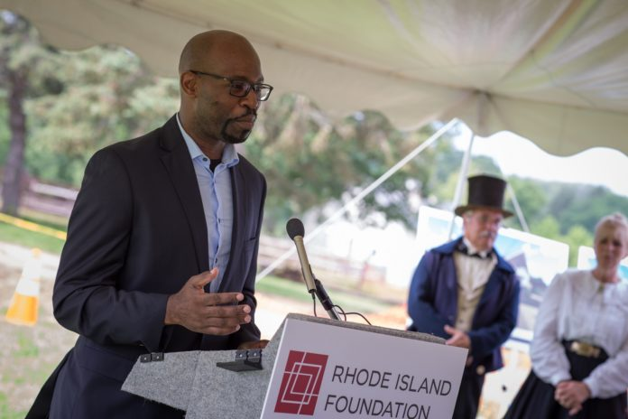 J.R. NEVILLE OF THE African Alliance describes how his organization will use a grant from the Rhode Island Foundation to create an urban farm in South Providence. The Alliance is 1 of 30 nonprofits that will share nearly $225,000 in grants to make community improvements across Rhode Island./ PHOTO COURTESY RHODE ISLAND FOUNDATION