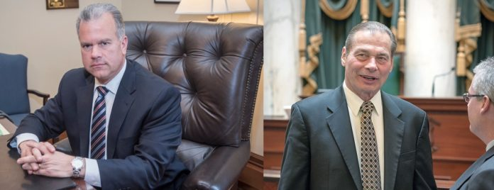ON THE FINAL DAY of the legislative sessions for both the House and the Senate in fiscal 2017, the R.I. General Assembly failed to agree on a state budget. Above left, House Speaker Nicholas A. Mattiello, right, Dominick J. Ruggerio.