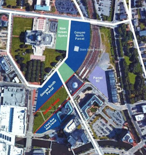 UNDER A PLAN developed by R.I. Department of Transportation, the sites in royal blue would be the preferred sites for the development of a bus hub./ COURTESY R.I. DEPARTMENT OF TRANSPORTATION