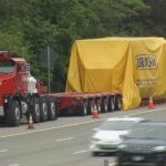 THE OPERATORS OF BAY CRANE NORTHEAST were fined $57,000 by the R.I. State Police Commercial Enforcement Unit for hauling cargo exceeding state roadway weight limits. /COURTESY WJAR-TV NBC 10