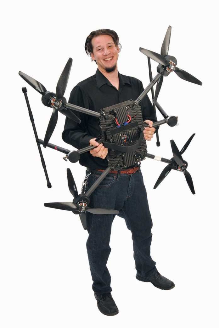 THE PROP: Andy Trench has used his RISD training with his partner to do commercial interior design/build. But for a decade he has been piloting and then building remote-piloted aircraft – drones.