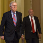 SENATE MAJORITY LEADER Mitch McConnell, a Republican from Kentucky, walks to his office from the Senate Chamber following a vote at the Capitol in Washington, D.C.