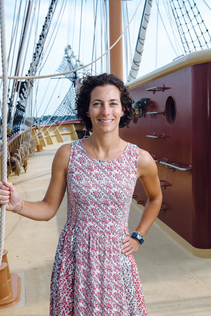 OLIVER HAZARD PERRY RHODE ISLAND is a nonprofit whose mission is to provide educational experiences at sea, says Executive Director Jessica Wurzbacher. The 200-foot, oceangoing ship was completed in 2015, with a permanent home of Fort Adams in Newport. / PBN PHOTO/RUPERT WHITELEY