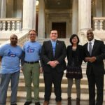 AMERICAN CANCER SOCIETY Cancer Action Network volunteers, from left, Robert Bailey, Ted Simon, Ryan Strik, Venus Tian and Ramone Johnson attended an R.I. House Finance Committee hearing in support of increased funding for the state's tobacco-control program. /COURTESY AMERICAN CANCER SOCIETY CANCER ACTION NETWORK RHODE ISLAND