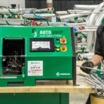 TEXTRON INC. SUBSIDIARY Greenlee has introduced a new automated cable-cutting machine. The C3 Auto Whip machine, shown above, is designed to cut and notch cables more quickly and safely than manually operated machines. / COURTESY GREENLEE TEXTRON INC.