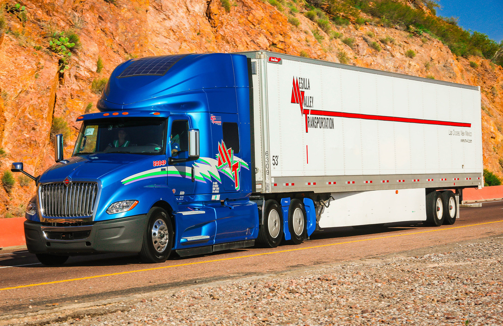 MESILLA VALLEY TRANSPORTATION, a transportation company headquartered in El Paso, Texas, has purchased close to 1,000 auxiliary solar-power systems for its fleet of Navistar trucks from Warwick-based renewable-energy company eNow. /COURTESY MESILLA VALLEY TRANSPORTATION