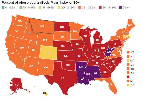 RHODE ISLAND RANKED No. 11 for lowest adult obesity rates in the nation. / COURTESY THE STATE OF OBESITY
