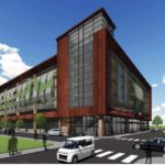 The Garrahy Garage project, shown here in a rendering by architect Vision 3 Architects, is expected to break ground in early 2018. Courtesy Vision 3 Architects.