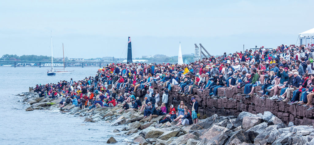 TOURIST DRAW: Crowds gather to watch the Team Vestas Wind In-Port Race in Newport in May 2015. / COURTESY VOLVO OCEAN RACE