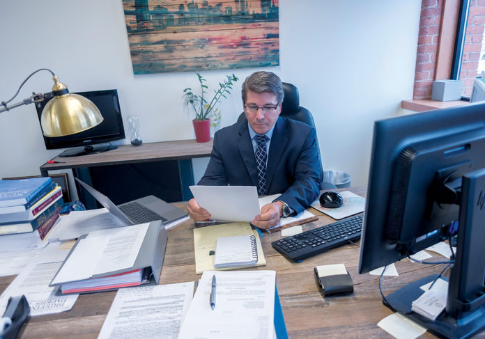 RECEIVER: Attorney Stephen Del Sesto is the receiver for the St. Joseph Health Services of Rhode Island Retirement Plan, which covers about 2,700 current and former employees of Our Lady of Fatima Hospital.  / PBN PHOTO/MICHAEL SALERNO