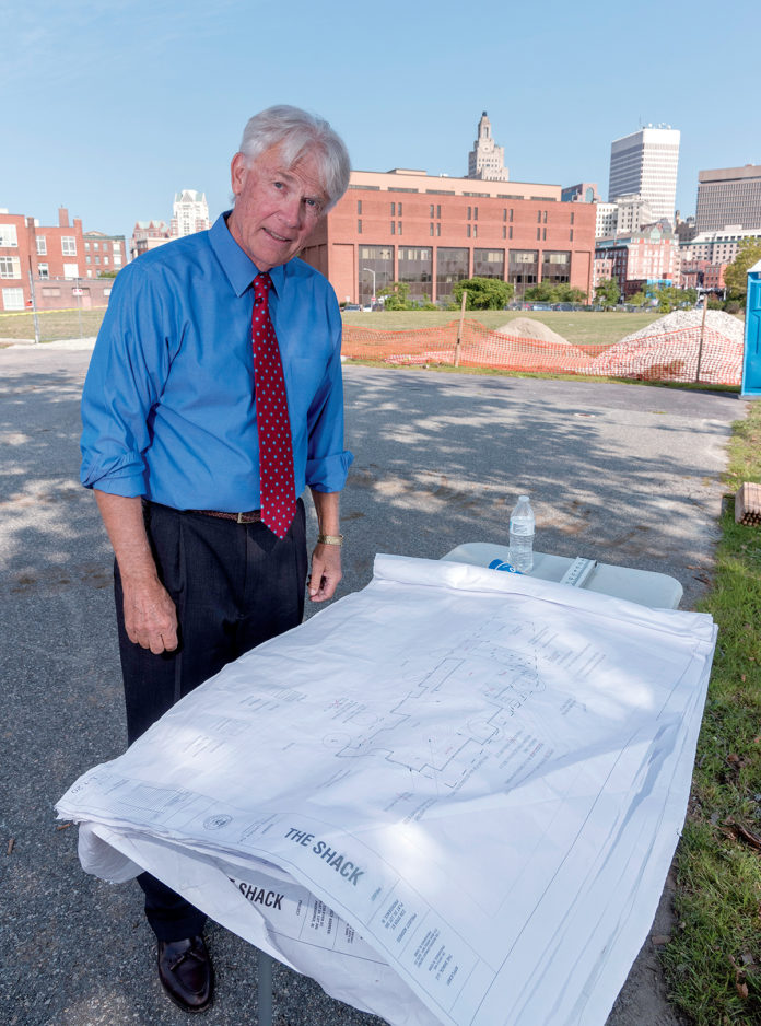 Bob Davis is the new chairman of the I-195 Redevelopment District Commission and has taken a lead role in recent parcel negotiations. Davis is in front of the future location of Wexford parcel. PBN PHOTO/MICHAEL SALERNO