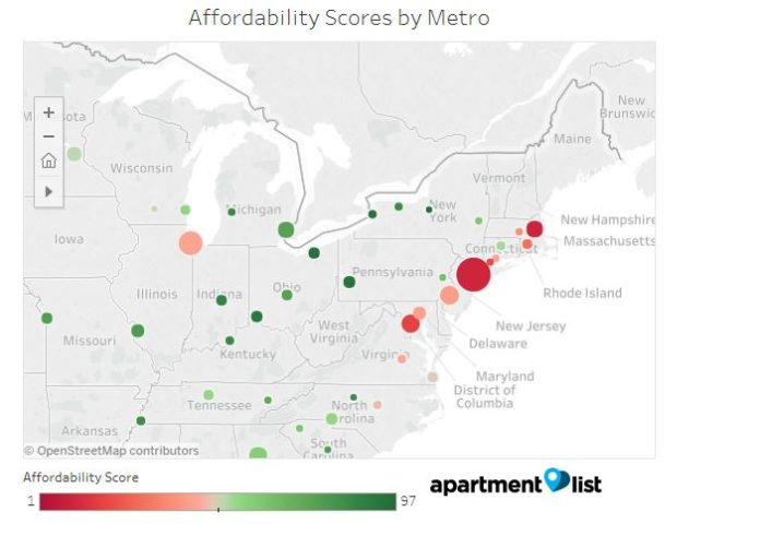 THE PROVIDENCE METRO AREA ranked among the bottom 10 metro areas for millennials in a study of 75 markets. / COURTESY APARTMENT LIST INC.