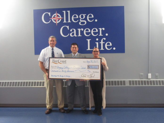 LEFT TO RIGHT: Steve Kenyon, a director of BayCoast Bank and Argosy Collegiate board member; Gary Vierra, senior vice president, BayCoast Bank, board member and treasurer of Argosy Collegiate and Kristen Pavao, founder and executive director of Argosy Collegiate. / COURTESY ARGOSY COLLEGIATE