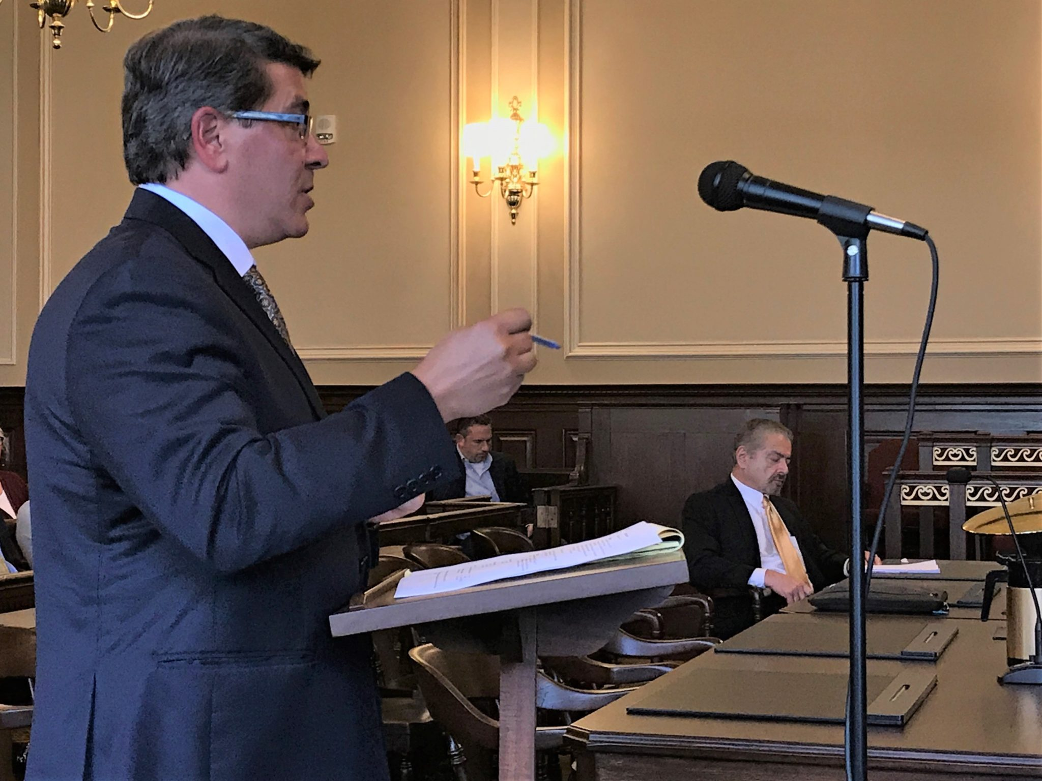 STEPHEN DEL SESTO testifies before R.I. Superior Court in 2017. He was appointed to usher the St. Joseph Health Services pension plan through receivership. Max Wistow, who was appointed special counsel, sits at right in the background. / PBN FILE PHOTO/ELI SHERMAN