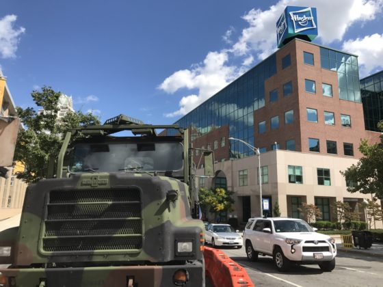 A life-sized G.I. Joe truck was parked in front of the Dunkin' Donuts Center on Sabin St. in Providence as part of HasCon. PBN PHOTO/NICOLE DOTZENROD