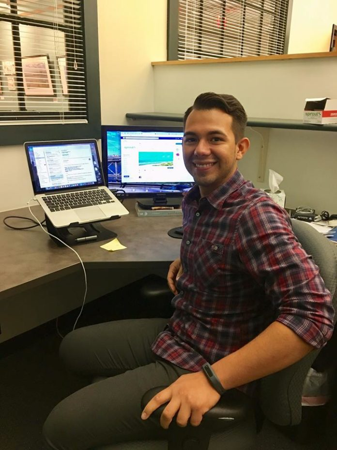 LUIS BARRIOS is the community engagement manager for Sprout RI, a co-working facility in Providence that offers hot desks, standing desks and a dedicated workspace for migrant professionals. / COURTESY SPROUT RI