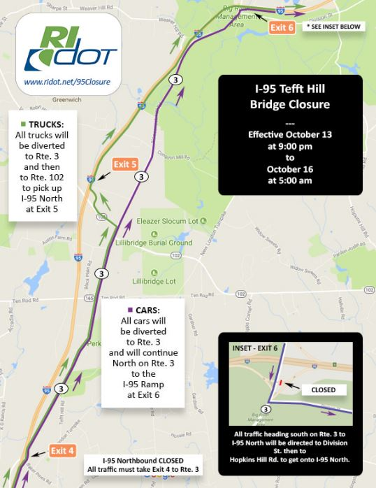 I-95 NORTH will be closed for 56 hours, from 9 p.m. on Oct. 13 to the morning of Oct. 16. Traffic will be rerouted to Route 3 North. / COURTESY RIDOT