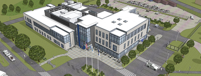 UNIVERSITY OF MASSACHUSETTS DARTMOUTH announced it will host a ribbon cutting for its $55 million expansion to the New Bedford School for Marine Science and Technology Friday. Above, a rendering of the new SMAST building. / COURTESY UNIVERSTIY OF MASSACHUSETTS DARTMOUTH