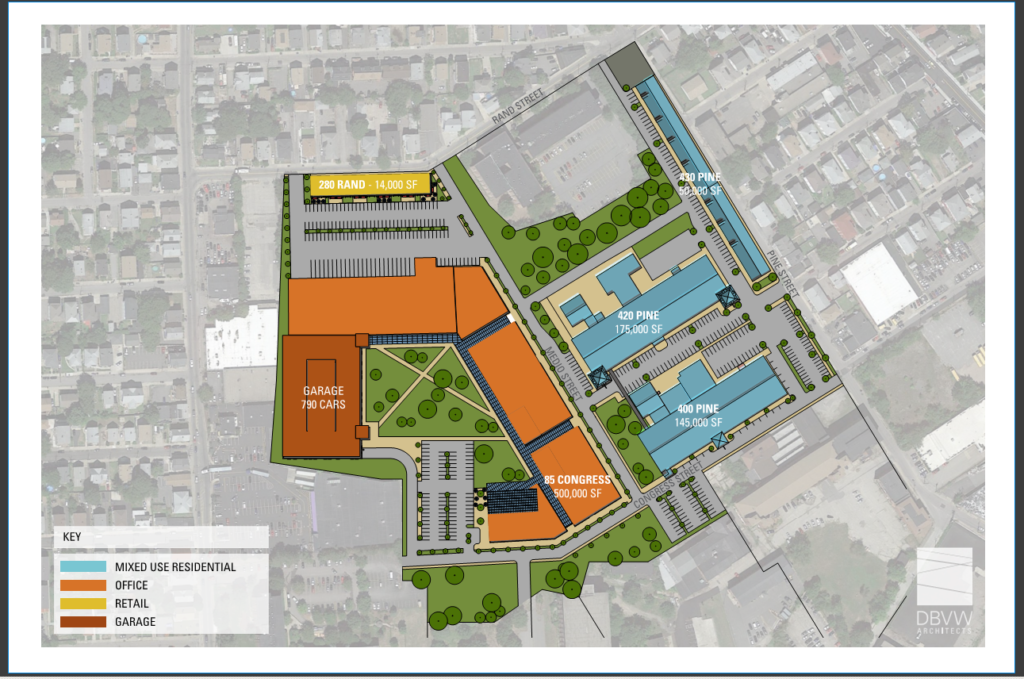 AN AERIAL PLAN of a proposed site for a Amazon headquarters in the Pawtucket Central Falls Train District. /COURTESY CENTRAL FALLS