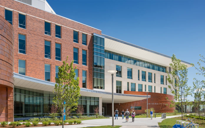 PARE CORP. RECEIVED a Bronze Engineering Excellence Award from the American Council of Engineering Companies of Massachusetts for its work on the University Hall project, above, at the University of Massachusetts Boston. / COURTESY PARE CORP.