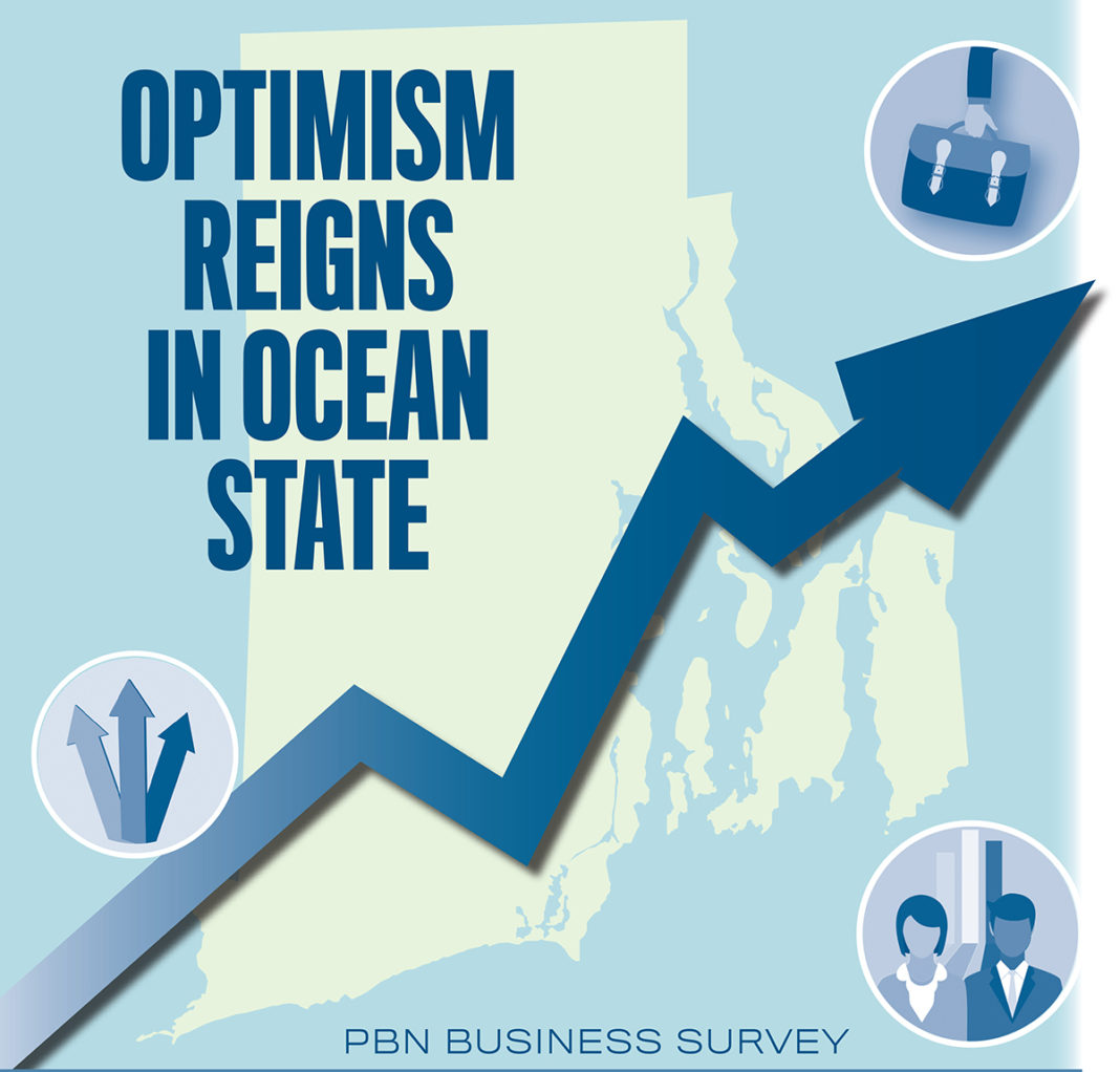 POSITIVE VIBES: According to results from the Providence Business News Summer 2017 Business Survey, local business owners are optimistic about the future of their businesses and the statewide economy, despite ongoing concerns about finding qualified workers and managing rising health care costs.  / PBN GRAPHIC/ANNE EWING & LISA LAGRECA