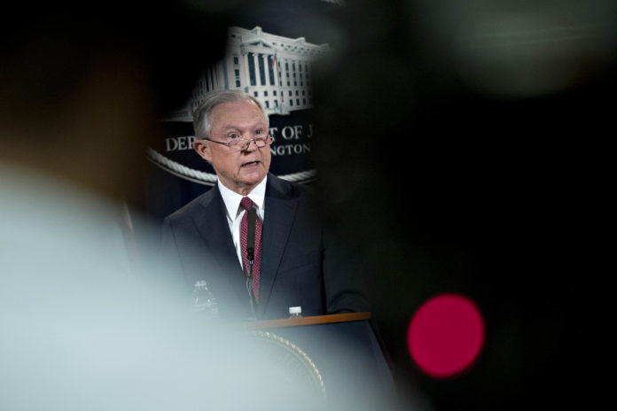 NO DEFERRED ACTION: U.S. Attorney General Jeff Sessions speaks during a briefing at the Justice Department in Washington, D.C., on Sept. 5, announcing the Trump administration's decision to end the Deferred Action for Childhood Arrivals program initiated under President Barack Obama. / BLOOMBERG NEWS PHOTO/ANDREW HARRER