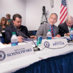 SEN. WILLIAM J. Conley Jr. (center), D-East Providence, is chairman of the Senate Finance Committee, center. He listens to testimony related to Pawtucket Red Sox legislation last year. / PBN FILE PHOTO/MICHAEL SALERNO