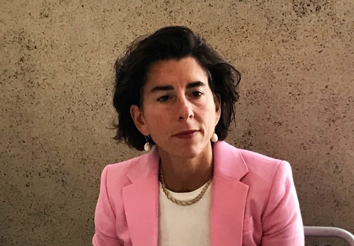 GOV. GINA M. Raimondo discusses the future of the Pawtucket Red Sox, which is seeking state money to build a new stadium in Pawtucket./ PBN PHOTO/ ELI SHERMAN