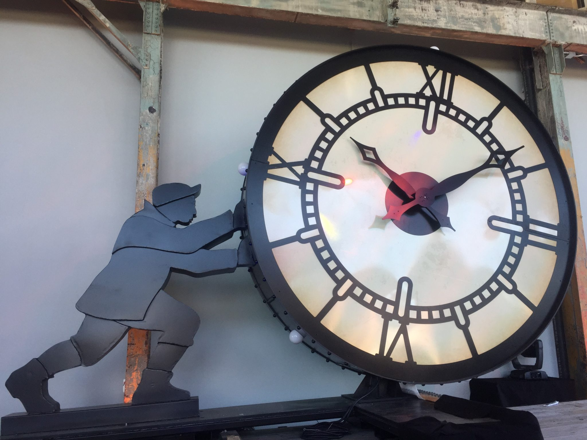 THE FOUNDRY CLOCK MAN was unveiled at the FireBall at the WaterFire Arts Center Thursday evening. The sculpture will overlook I-95 from The Foundry Campus. / COURTESY THE FOUNDRY