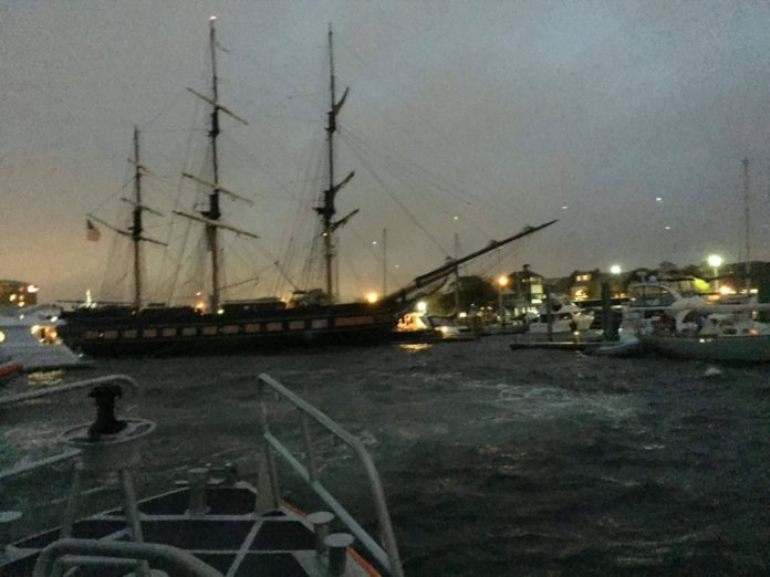 THE OLIVER HAZARD PERRY lost engine power Sunday evening impacting four vessel in the Newport Harbor. The ship is expected to be returned to Fort Adams Monday afternoon. / COURTESY U.S. COAST GUARD