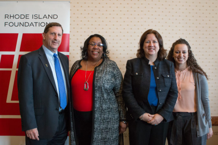 THE RHODE ISLAND FOUNDATION has begun accepting applications for $600,000 in seed grants through its 2018 Carter Fellowships for Entrepreneurial Innovation initiative. (L-R) Foundation CEO Neil D. Steinberg, 2017 fellowship recipients Ditra Edwards and Donna Childs and Foundation Senior Vice President Jessica David are pictured at the announcement of the fellowships that were awarded earlier this year./ COURTESY RHODE ISLAND FOUNDATION