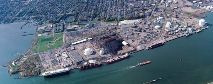 THIS AERIAL PHOTOGRAPH shows ProvPort, with Save The Bay located south of the property, and Johnson & Wales University Harbor Campus located to the southwest. A new $22 million cement-terminal facility was recently built on the site to accept cement shipments. / COURTESY PROVPORT