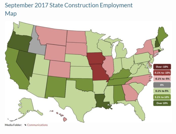RHODE ISLAND HAS SEEN significant growth in construction employment over the last 12 months, ranking No. 2 in the nation for percentage growth according to Associated General Contractors of America statistics released Friday. / COURTESY ASSOCIATED GENERAL CONTRACTORS OF AMERICA
