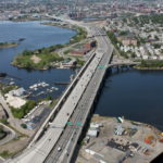 OVERHEAD POWER LINES that currently cross the Seekonk River at India Point Park to East Providence waterfront will be rerouted to cross the river south of the Washington Bridge. / COURTESY THE R.I. DEPARTMENT OF TRANSPORTATION