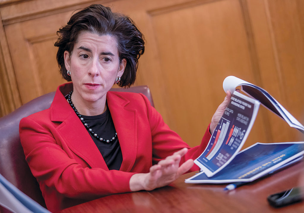 BUYOUTS: Gov. Gina M. Raimondo's decision to offer about 1,000 public employees early-retirement buyouts has received criticism from former Gov. Lincoln D. Chafee, saying the buyouts could delay cost-of-living adjustments owed to retirees beginning in fiscal 2030-31. / PBN FILE PHOTO/MICHAEL SALERNO