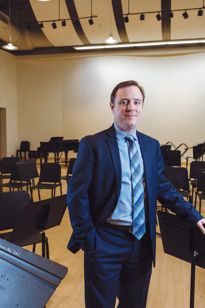 Under David Beauchesne's leadership, the Rhode Island Philharmonic Orchestra and Music School is seeing audience and enrollment growth, as well as deeper reach into the community. He earned bachelor of music and master of music in music education degrees from the Eastman School. / PBN PHOTO/RUPERT WHITELEY